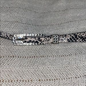 Vintage snakeskin print belt, rhinestone detail